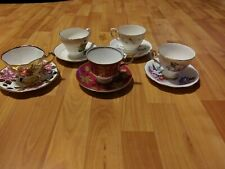 Lot of 5 pairs Tea Cups & Saucers Royal Tuscan Standard Rosina Adderly NM