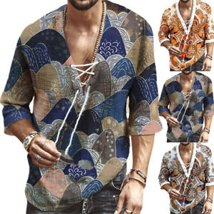 African Mens Half Sleeve Dashiki Style T Shirt Casual Ethnic Tops Party Blouse