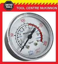"""QUALITY AIR COMPRESSOR 200psi PRESSURE GAUGE WITH ¼"""" BSP THREAD – REAR MOUNT"""