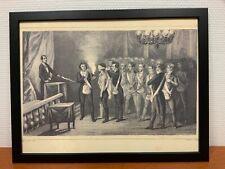 Framed engraving 30x40 cm Freemason Vrijmetselarij Entered Apprentice 1st degree