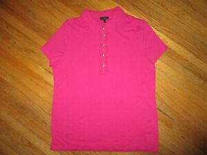 TALBOTS PINK POLO SHIRT Magenta Gold Buttons Preppy Sporty Women PETITES LARGE