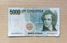 BANCONOTA ITALIA - 5000 LIRE ORIGINALE - V.BELLINI - SERIE: DD935547C  DEL 1985