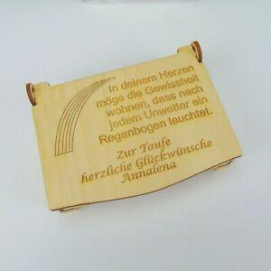 Schatztruhe Geschenk zur Taufe Schatulle Geld schenken Kiste Holz Taufgeschenk