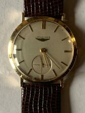 Vtg LONGINES Swiss 14K Gold 34.6mm 17j 1960s Slim Streamlined Modern Mens Watch