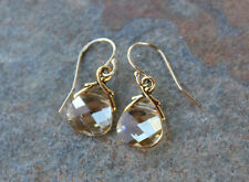 Champagne & Gold Earrings- Yellow/gold Swarovski crystals- 14k gold filled hooks