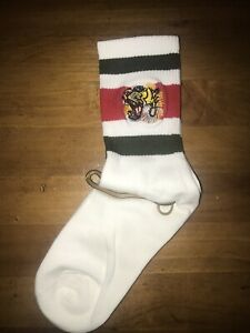 GUCCI Socks Tiger White Red Green Stretch Cotton