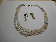 Earrings Aurora Borealis Glass Beads Vintage Double Strand Necklace &