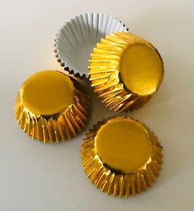 60 x PETITE FOUR CASES SWEETS GOLD FOILED Colour Design FESTIVE Truffles