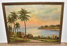 Vtg Original Frederick Matzow Artist Oil on Board Tropical Beach Sunset Scene
