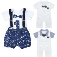 Newborn Baby Boys Romper + Shorts Set Jumpsuit Gentleman Outfit Bodysuit Clothes
