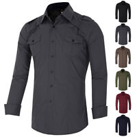 SALE Men's  Shirt Size S-XL Slim Fit Tops Formal Dress CSS Long Sleeve Smart NEW