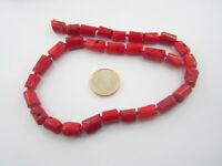 1 filo annodato di cilindri in corallo bambù rosso 28 cilindri irregolari cm 37