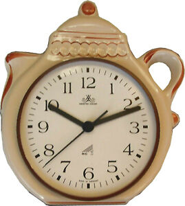 12805210F Kaffeekannenuhr artline beige Braunzierung  m.Glasurfehler Funkuhr Gl
