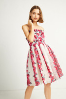 French Connection Womens Edith Vintage Glamour Floral Print Strapless Dress 10