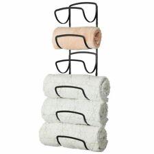 mDesign Metal Wall Mount Bathroom Towel Rack Holder, 6 Levels