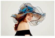 Chapeau en organza coloris : Turquoise/marron -  LIVRABLE DE SUITE
