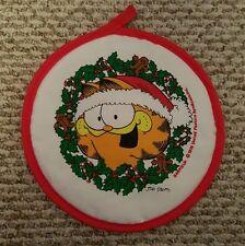 "Vintage GARFIELD THE CAT CHRISTMAS KITCHEN POT HOLDER HOT PAD 9"" Jim Davis 1978"