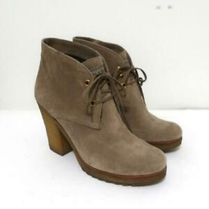 Prada Sport Desert Boots Beige Suede Size 38 High Heel Lace-Up Ankle Boots
