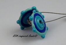 ROA Lampwork 2 Turquoise & Blue Multi Color Handmade Disc Art Glass Beads SRA