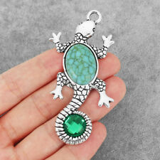 2Pcs Large Antique Silver Gecko Charms W/ Turquoise Stone Jewelry Pendants 74mm