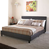 50% OFF FAUX LEATHER BED 3FT, 4FT, 4FT6, 5FT BLACK BROWN WHITE