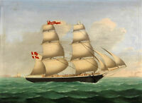 """high quality 36x24 oil painting handpainted on canvas """"danish brig """"@N12945"""