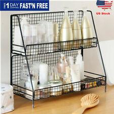 2Tiers Bathroom Kitchen Bedroom Countertop Shelf Corner Storage Rack Organizer
