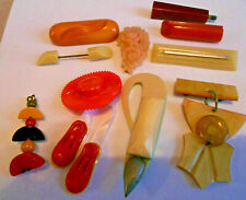 Vintage Bakelite Catalin Other Plastic Pieces Pins Brooches Lot 11 Pieces