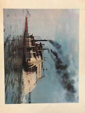 Vintage Print Steamer Lone Star Davenport Iowa Steamboat Paddle Boat River