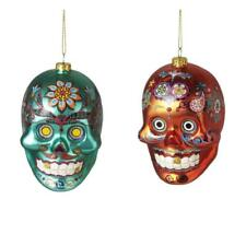"""SET OF 2 SKULL CHRISTMAS ORNAMENTS 4"""" Glass Day of the Dead Sugar Green Orange"""