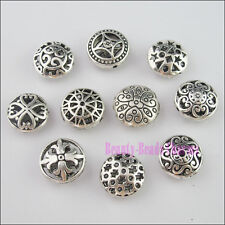 10Pcs Mixed Tibetan Silver Tone Round Flat Spacer Beads Charms