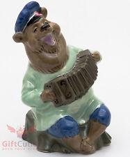 Russian Bear w Garmon accordion porcelain figurine souvenir hand-painted