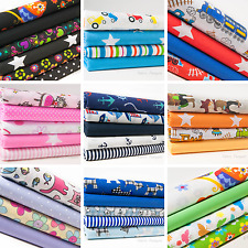 Children's Fat Quarter Bundle Nursery Polycotton Baby Kids Fabric Craft Boy Girl