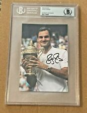 ROGER FEDERER SIGNED 4X6 PHOTO SLABBED BECKETT CERTIFIED #4