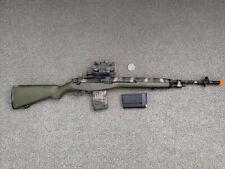 Airsoft CYMA M14 DMR Rifle AEG (CM.032, OD) Bundle - Camo Painted