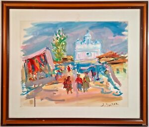 Listed Polish WPA Artist Jacques Zucker (1900-1981) Signed Gouache Painting