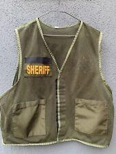 Vintage OD Green Tactical Cargo Mesh Vest w/Sheriff Identification Panel, Medium