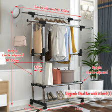 Adjustable Portable Clothes Hanger Rolling Garment Rack Duty Rail Single/Double