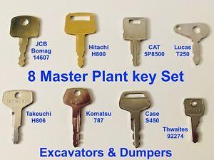 8 KEY MASTER PLANT SET  Excavator / Plant / Digger / Dumper  + FAST FREE POST !