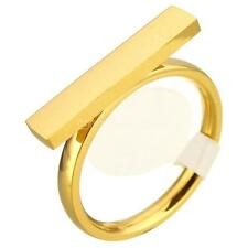 New Women Gold Plated Punk Stainless Steel Rectangle Ring Chic Jewelry Size 7