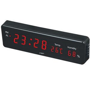 Digital Wall Clock Desk Alarm Clock LED Calendar Temperature Humidity Display