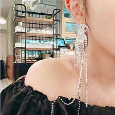 Fashion Parrot Dangle Hanging Asymmetrical Rhinestone Long Tassel Earrings E