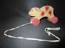 ancien jeux jouet d'enfant lapin à roulette à tirer fin XIX ème