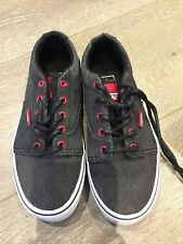 VANS Waxed Denim Kids Shoes - Kress Black/Red - UK 13.5 - Excellent Condition