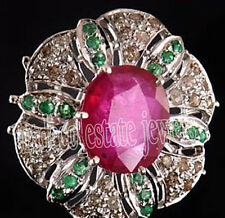 .925 Sterling Silver Cocktail Ring 2.90ctw Rose Cut Diamond Ruby Emerald