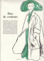 Publicité ancienne mode duo de couleur  Christian Dior 1950 issue de magazine