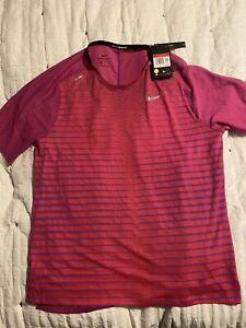 Nike Men's TechKnit Future Fast Running L T-Shirt Vivid Purple NEW