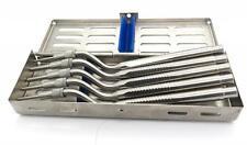 Sinus Lift Set of 5 Osteotome Kit Offset Concave Tips Dental Implant W/ Cassette