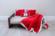 Pet / Dog Bed Custom Handmade Soft & Fluffy USA  Small-Medium RED & WHITE