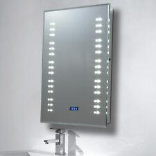Bathroom Wall Illuminated LED Mirror Demister Sensor with Shaver Socket & Clock